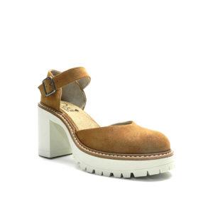sabata cordada de color cuir amb plataforma dentada i talo de 5cm