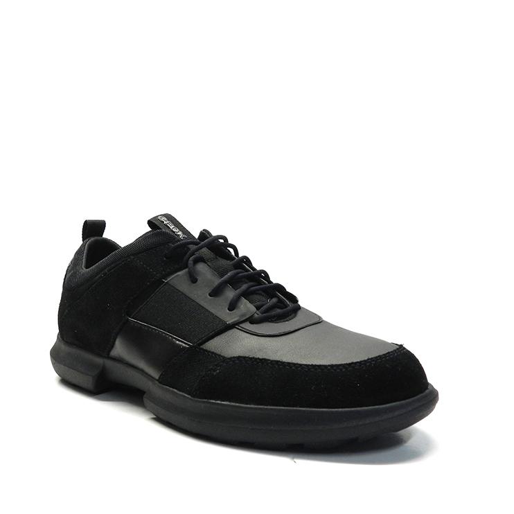 Zapatos con cordones deportivos en napa y ante, de color negro, marca Geox.