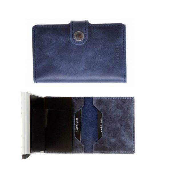 Tarjetero de piel vintage de color azul marino y protector de banda magnética.