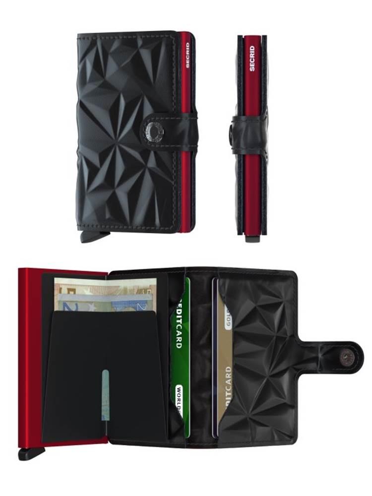 Tarjetero de piel grabada en color negro y protector de banda magnética.