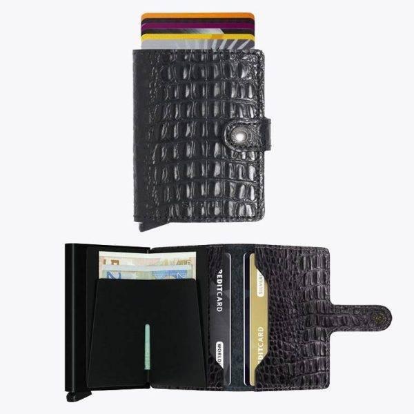 Tarjetero de piel de coco en color negro y protector de banda magnética.