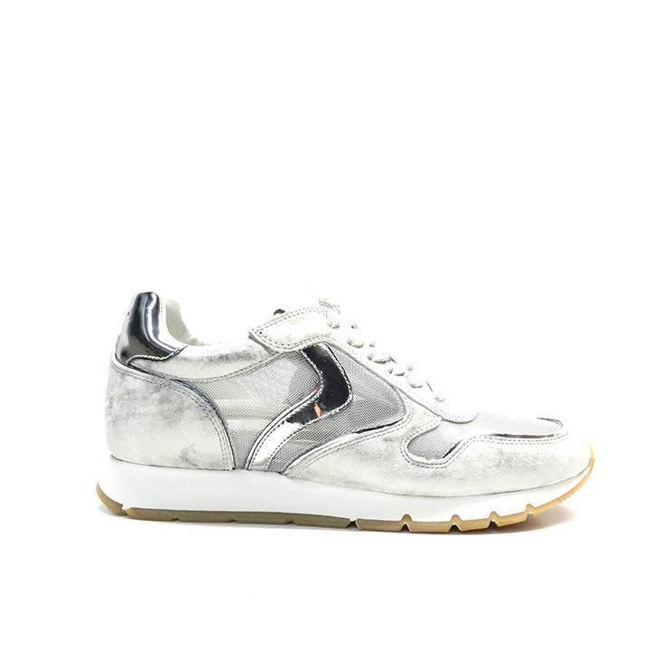 sneakers de cordones de piel y rejilla de color plata,marca voile blanche