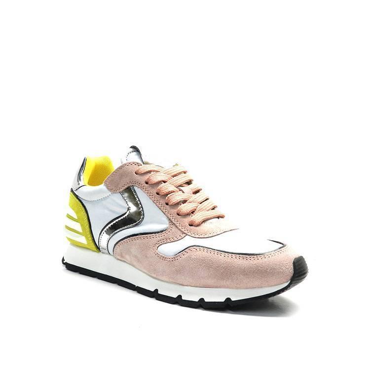 sneakers de cordones de piel combinada en rosa/blanco /amarillo marca voile blanche
