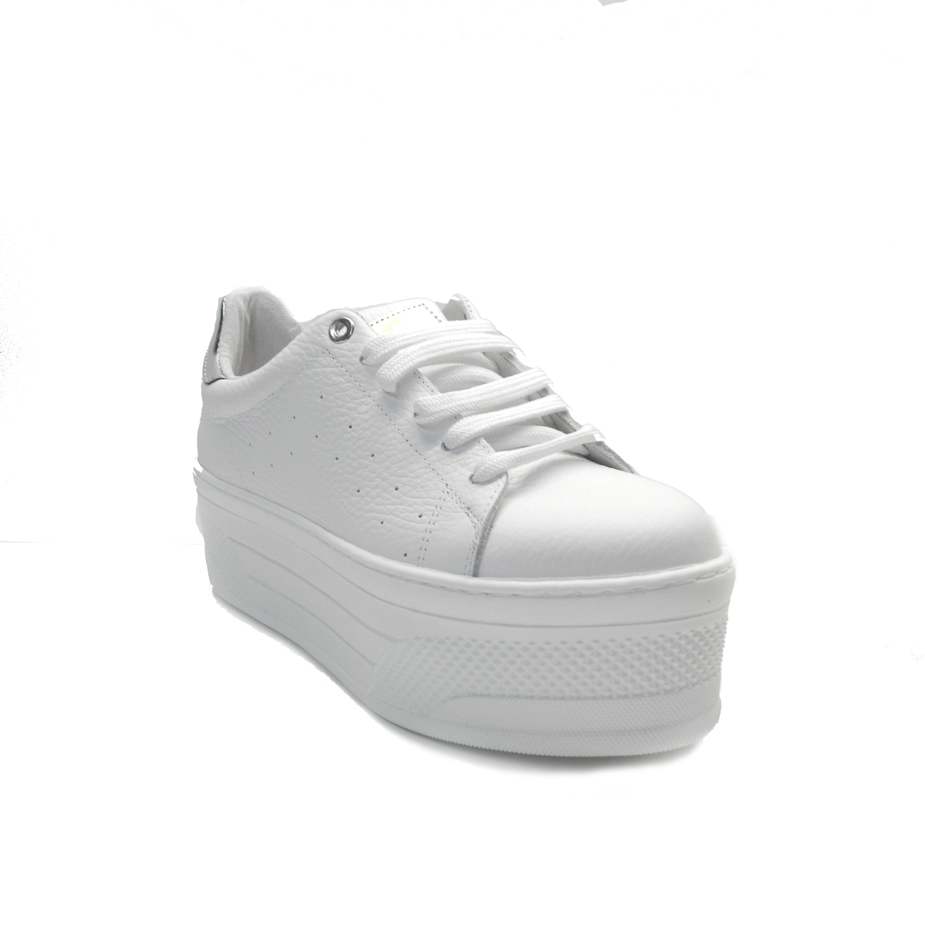 Sneakers de cordones en piel blanca y doble plataforma
