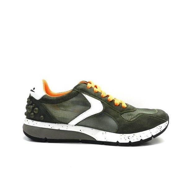 sneakers de cordons de color kaki,taronja i blanc