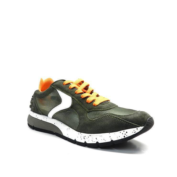 sneakers de cordones en color kaki,naranja y blanco