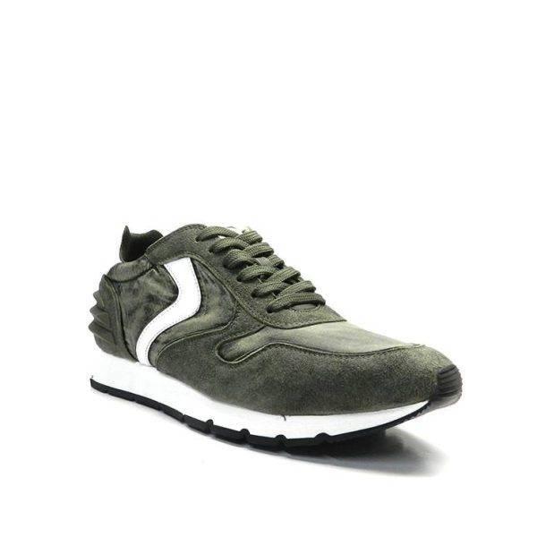 sneakers de cordons de color kaki i blanc amb talonera engomada