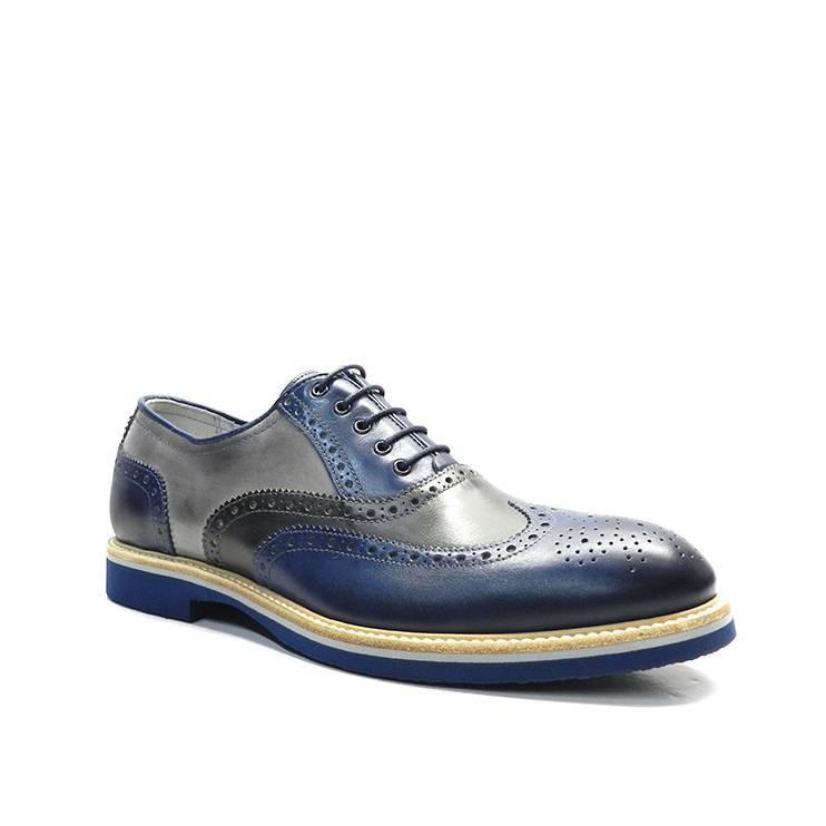 Zapatos de cordónes en piel tricolor,gris oscuro,gris claro y azul