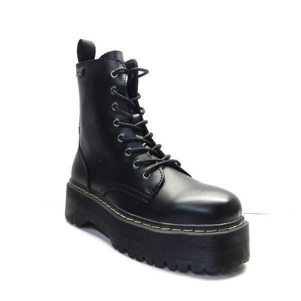 botin de cordones estilo mulitar en piel negra y plataforma ,marca coolway