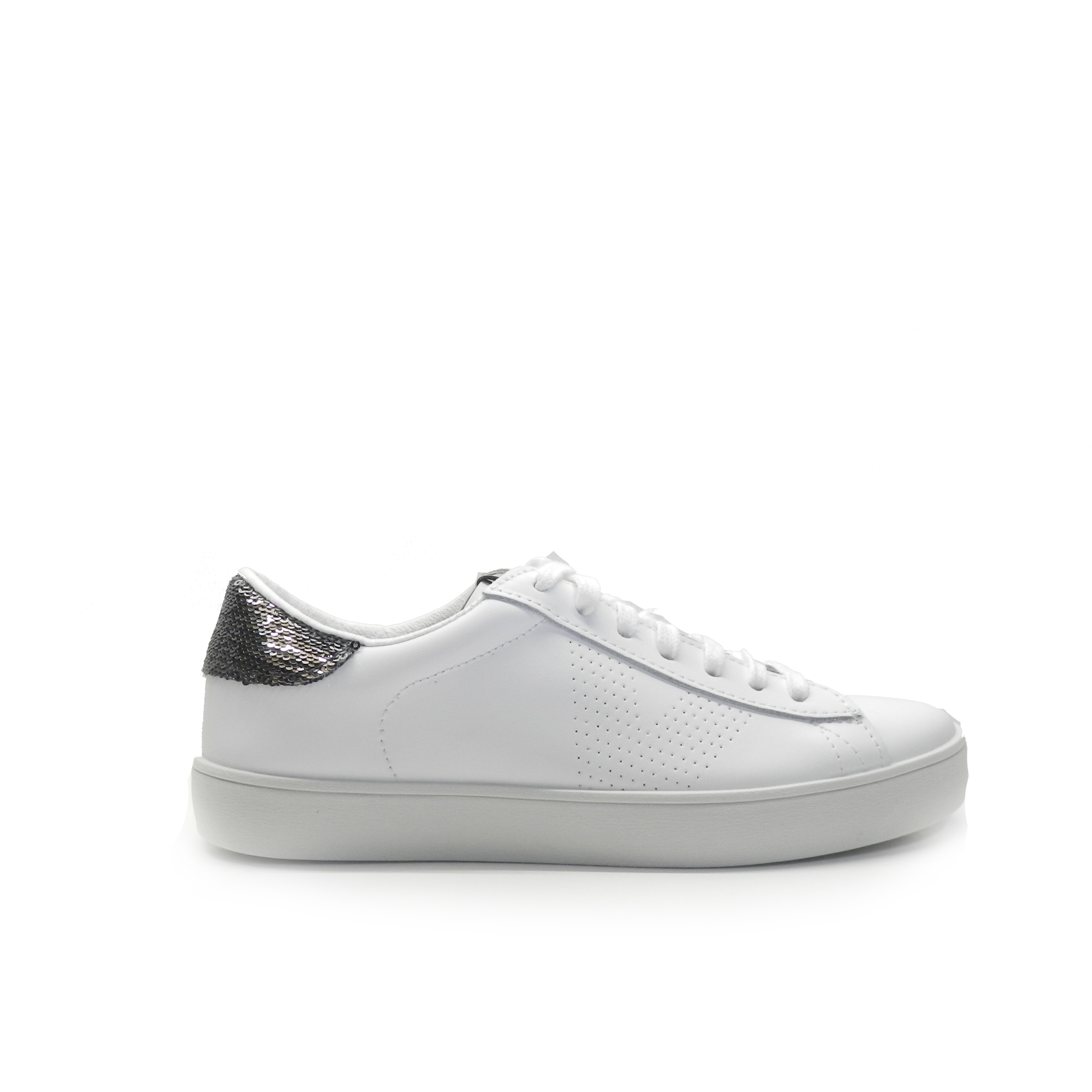 sneakers de napa de color blanco tipo tenis con adorno trasero brillante,marca victoria