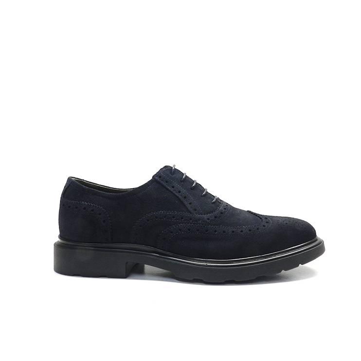 zapatos de cordones en serraje azul marino y adorno pala vega,marca nero giardini