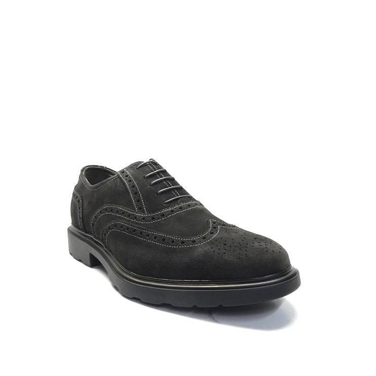 zapatos de cordones en serraje gris y adorno pala vega,marca nero giardini