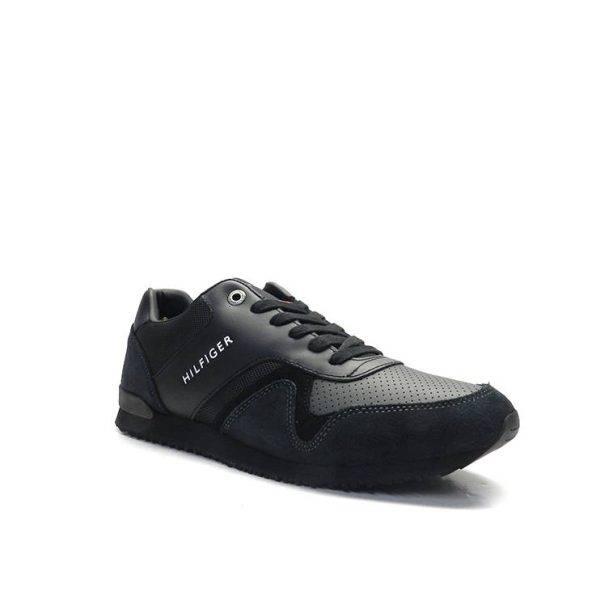 sneakers de cordones en piel de color negro,marca tommy hilfiger