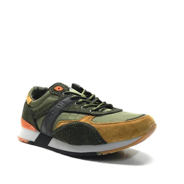 sneakers de cordones en tonos verdes,naranja y ocre ,marca napapijri
