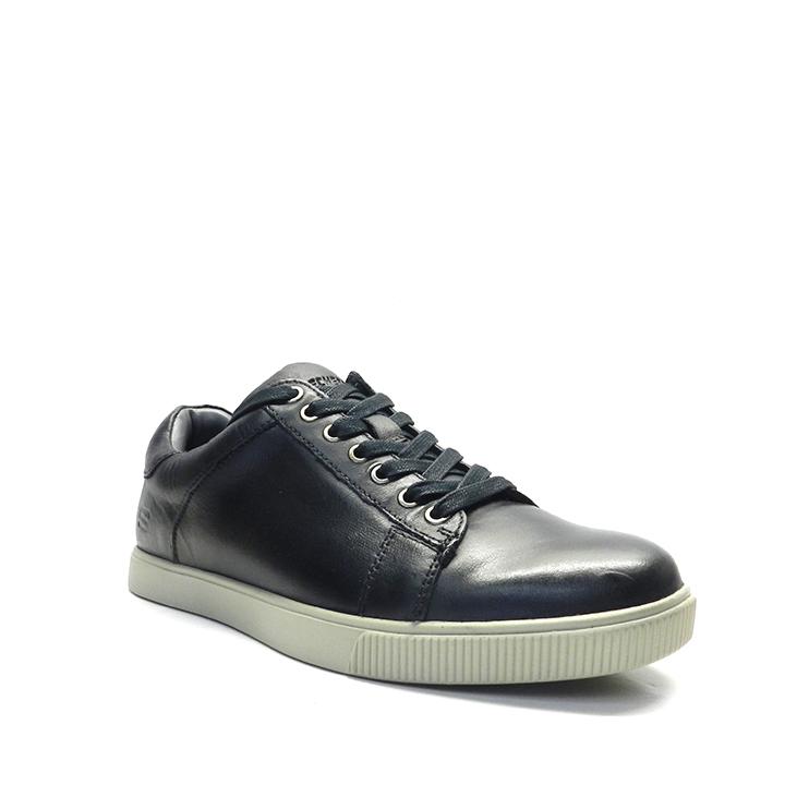 Zapatos de cordones en piel negra ,marca skechers