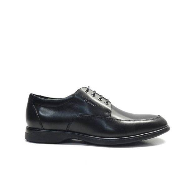 Zapatos de cordones en piel negra con plantilla de confort extraible y camara de aire ,marca stonefly