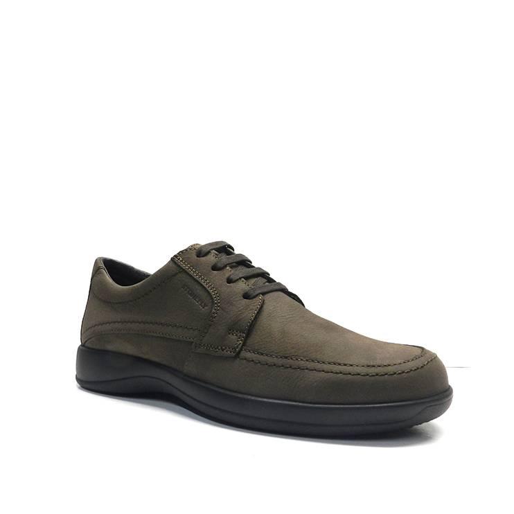 Zapatos de cordones en nobuk marron con plantilla de confort extraible y camara de aire ,marca stonefly