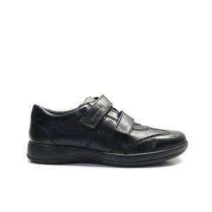 Zapatos de velcro en piel negra con plantilla de confort extraible y camara de aire ,marca stonefly