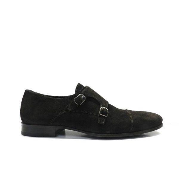 Zapatos de vestir en ante marron con dos hebillas,marca sergio serrano