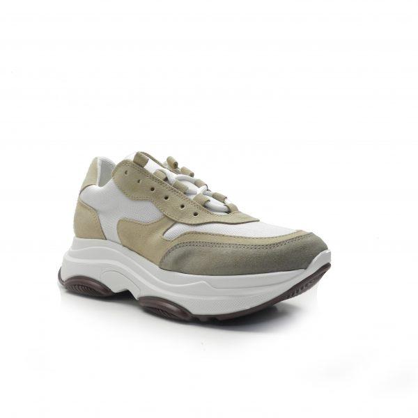 sneakers combinada en lona y nobuck, suela balancínde la marca oxigeno.