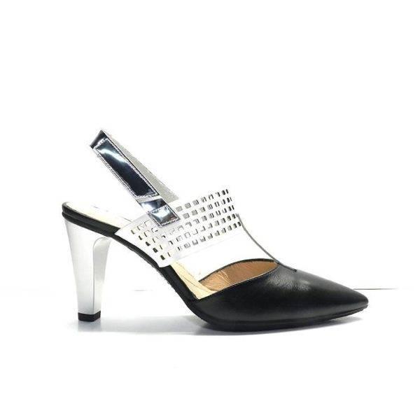 zapatos de vestir combinados negro y blanco cerrados de punta y con tacon fino,marca hispanitas