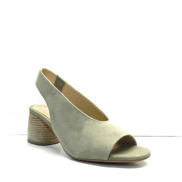 sandalias de tacon en ante color vison ,marca bruno premi