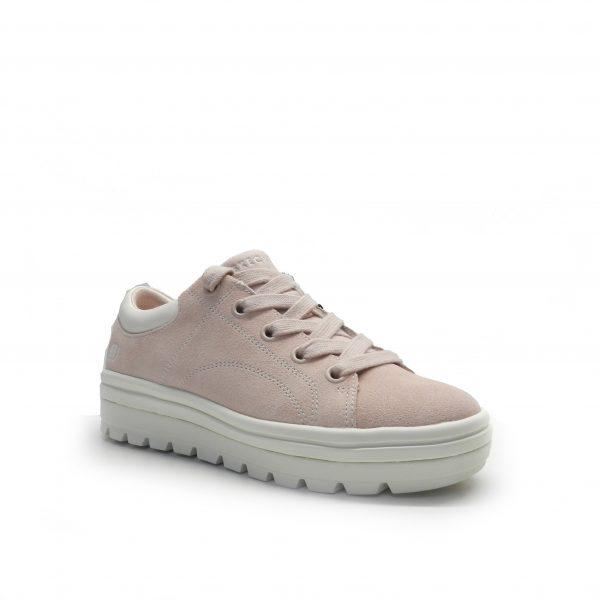sneakers de serraje de color rosa con plataforma ,marca skechers