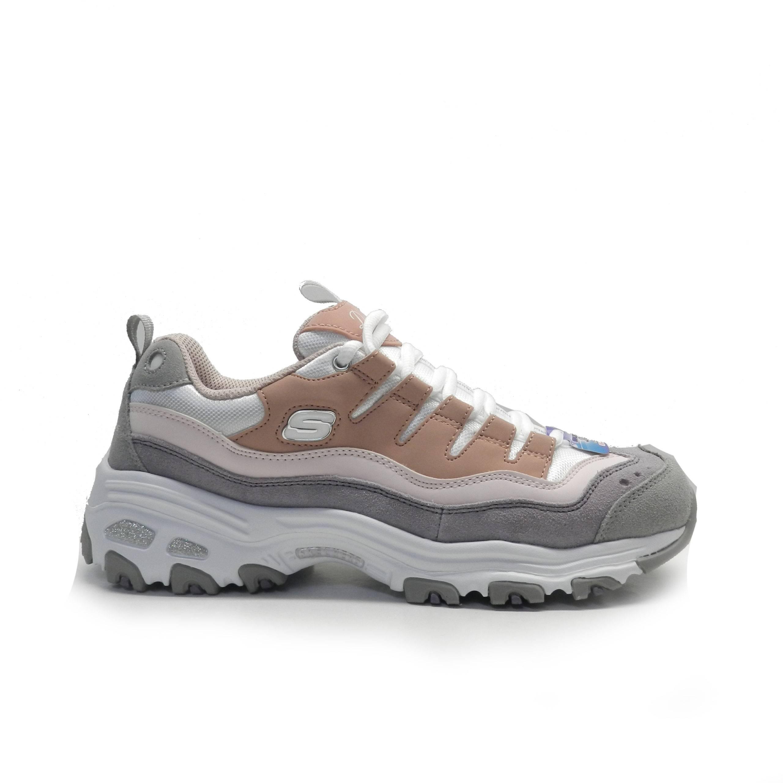 sneakers combinada en color rosa y gris , de la marca skechers.