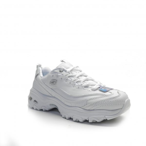 sneakers de piel en color blanco , de la marca skechers.