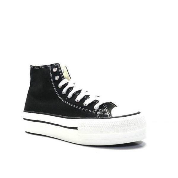 sneakers bota de lona en color negro con plataforma de la marca victoria.