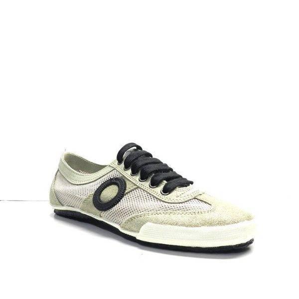 sneakers de cordones en ante y con rejilla de color platino de la marca aro.