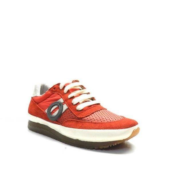 sneakers de cordones combinada en ante y nylon con napa picada de la marca aro.