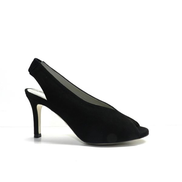 sandalias de vestir en ante de color negro y tacón fino de la marca pedro miralles.