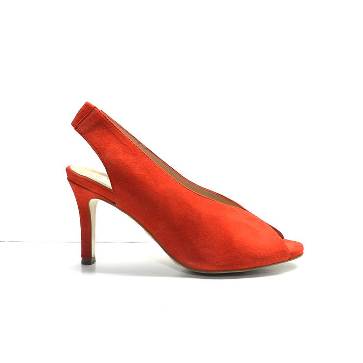 sandalias de vestir en ante de color rojo y tacón fino de la marca pedro miralles.