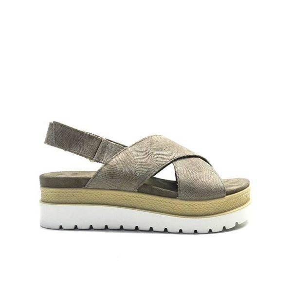 sandalias cruzadas con plataforma en tonos vison , marca imac