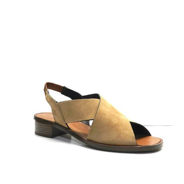 sandalias de nobuk cruzadas en color cuero, marca plumers