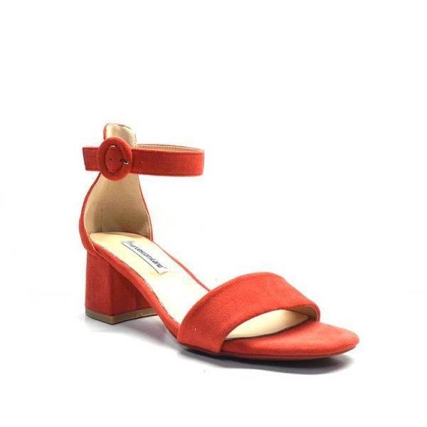 sandalias de ante en color rojo y tacón 5cm. de la marca francesco milano.