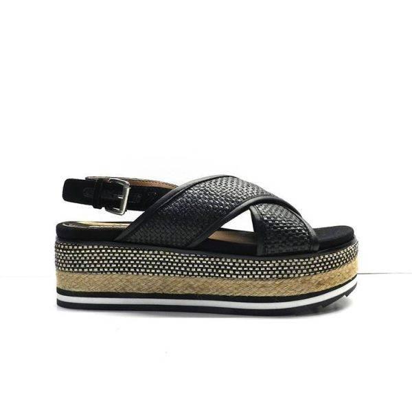 sandalias cruzadas negras en rafia y plataforma de yute, marca gioseppo