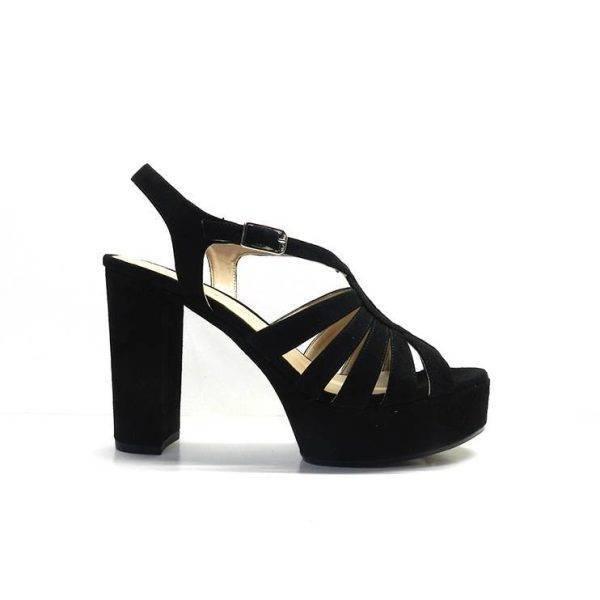 sandalias de tiras negra con tacon y plataforma ,marca unisa