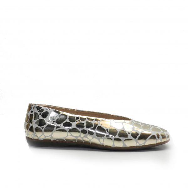 zapatos tipo manoletina en estampado dorado,marca wonders