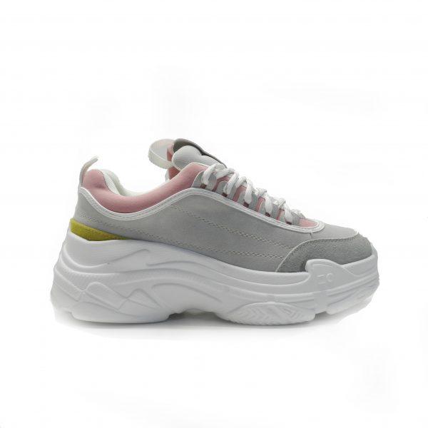 sneakers en piel nobuck con diferentes tonos y cordones , de la marca cool way.