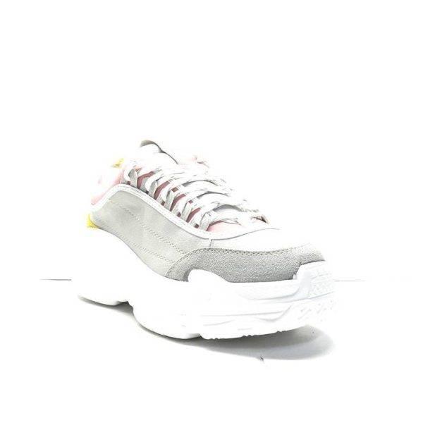 sneakers de nobuck gris en combinación de varios colores con suela de plataforma y cordones de la marca cool way.