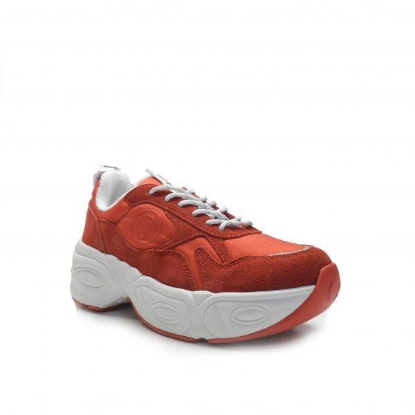 sneakers con volumen y combinada en piel y nylon rojo, marca No Name