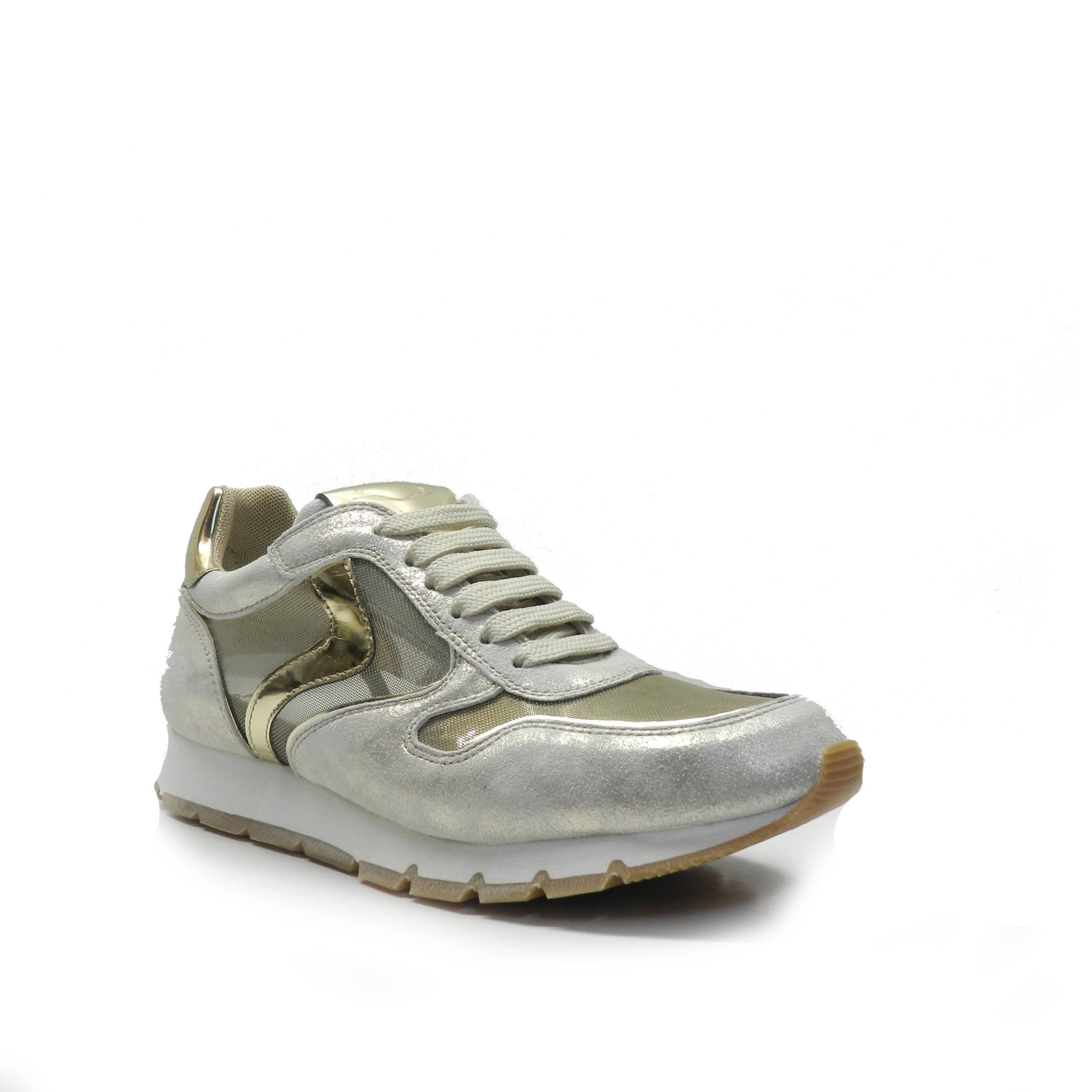 sneakers de cordones en napa combinada con plata, dorados y rejilla, marca Voile Blanche.
