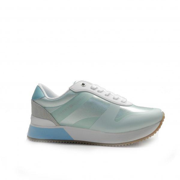 Sneakers en raso de tonos azul agua, marca tommy hilfiger