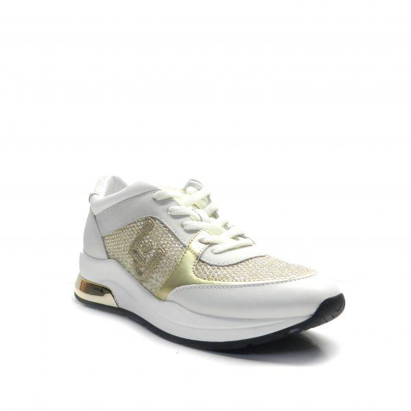 sneakers de cordones con malla dorada y calada, de la marca liu.jo.