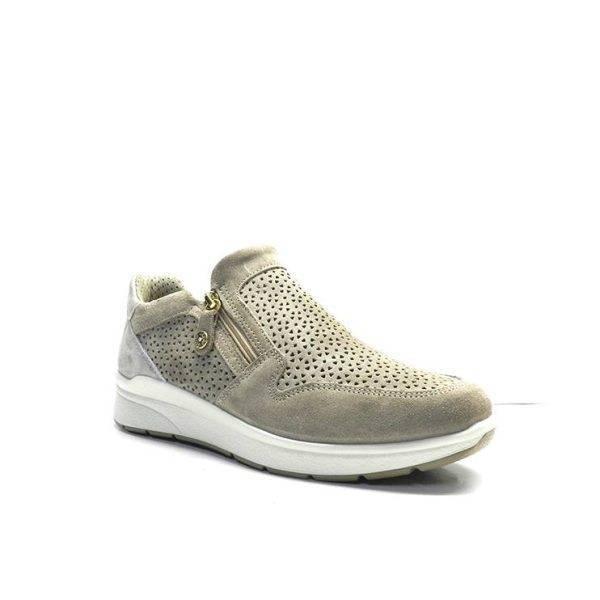 Sneakers de color de ante color vison con dos cremalleras, marca imac
