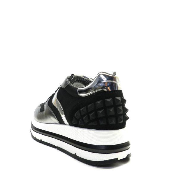 Sneakers VOILE BLANCHE MARAN STUDS ARGENTO-NERO