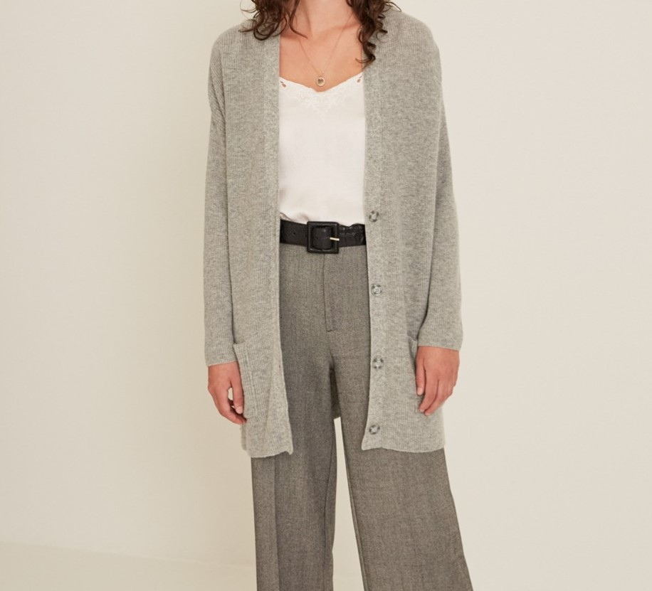 Maxi cardigan gris Yerse 33551